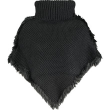 Black Knitted Trim Poncho
