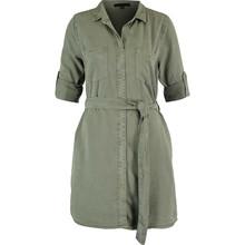 Khaki green belted shirt dress