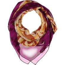 Purple & yellow rose printed silk scarf